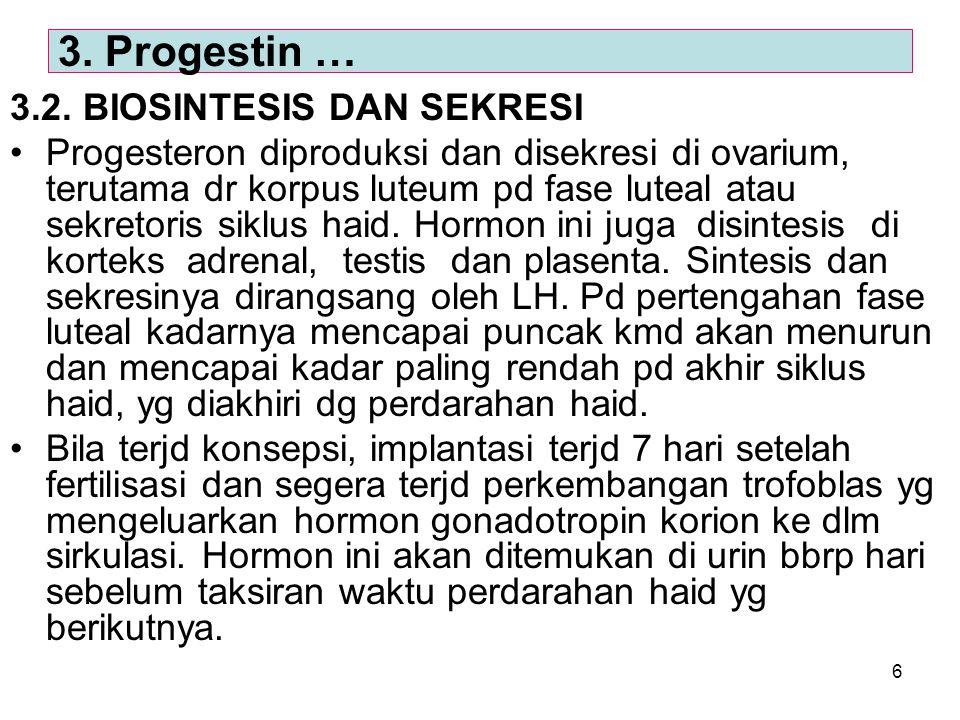 3. Progestin … 3.2. BIOSINTESIS DAN SEKRESI