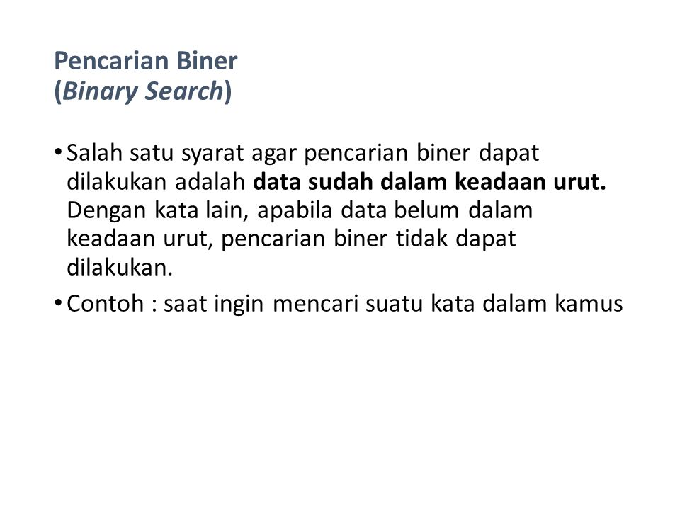Pencarian Biner (Binary Search)
