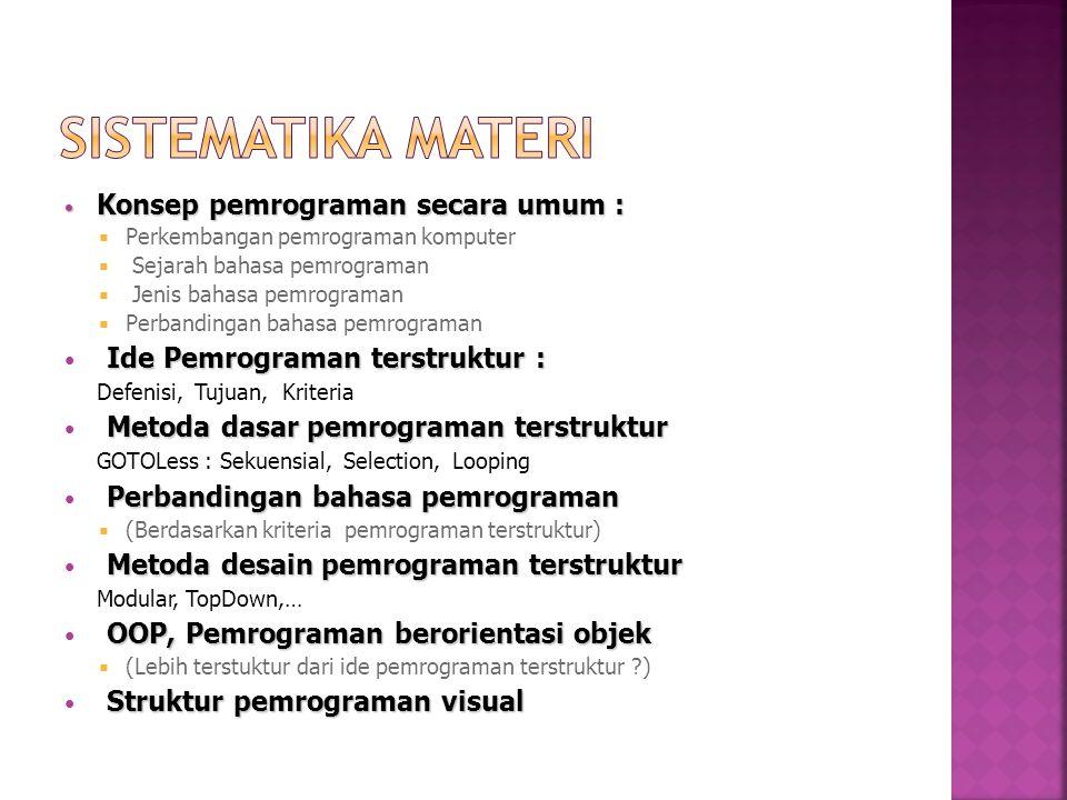 SISTEMATIKA MATERI Ide Pemrograman terstruktur :