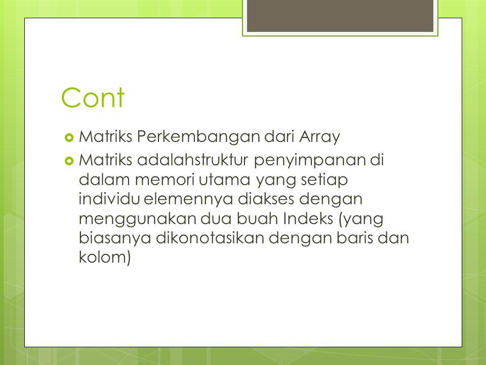 Cont Matriks Perkembangan dari Array