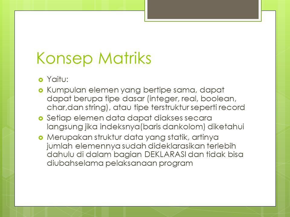 Konsep Matriks Yaitu: