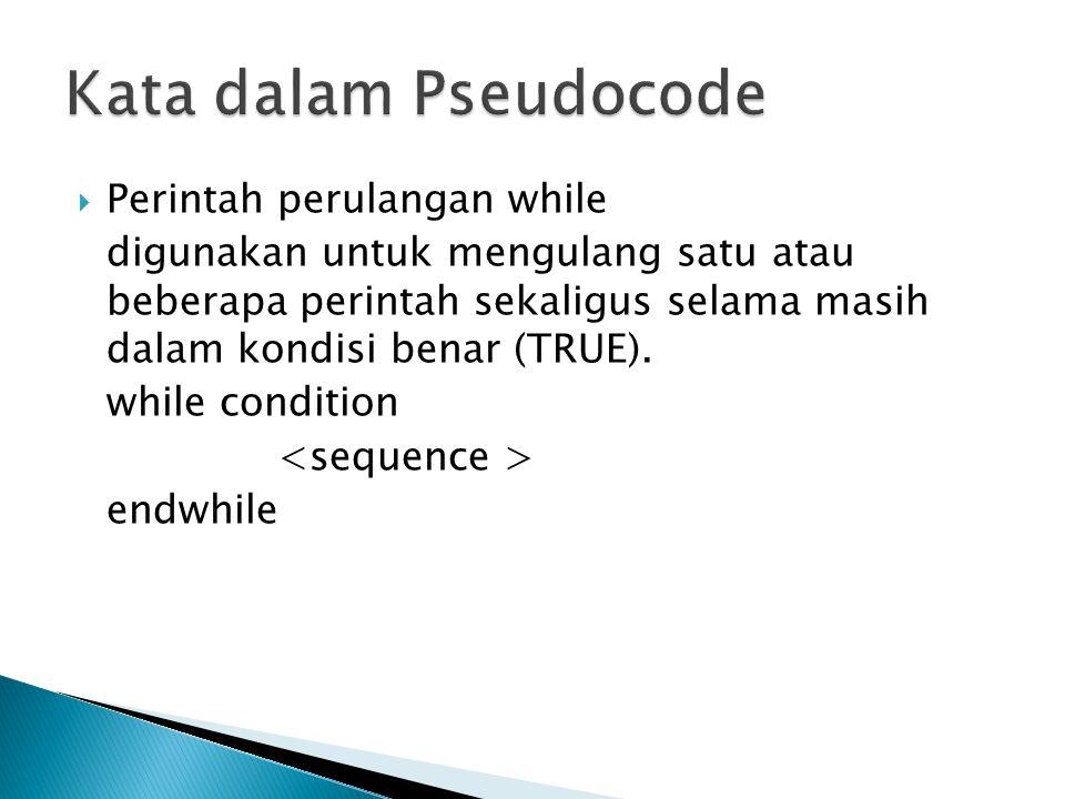 Kata dalam Pseudocode Perintah perulangan while