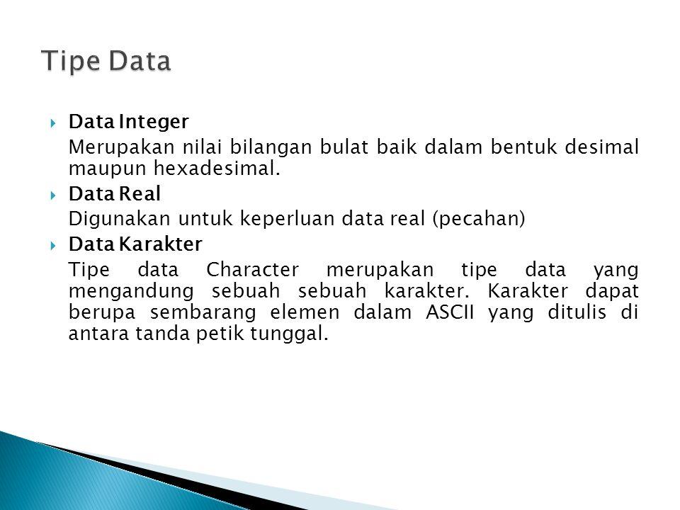 Tipe Data Data Integer. Merupakan nilai bilangan bulat baik dalam bentuk desimal maupun hexadesimal.