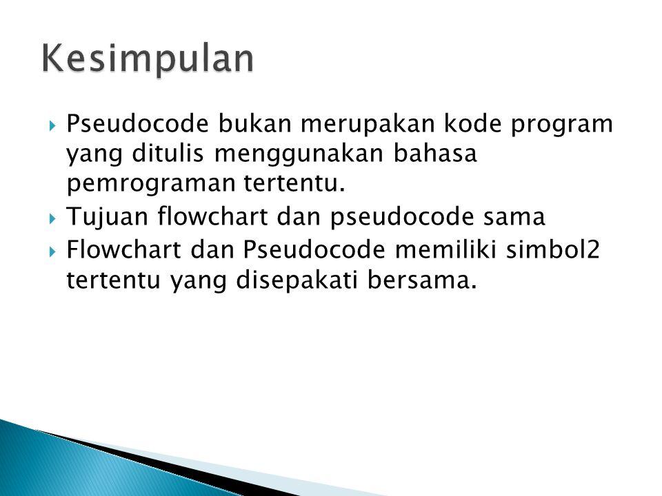 Kesimpulan Pseudocode bukan merupakan kode program yang ditulis menggunakan bahasa pemrograman tertentu.
