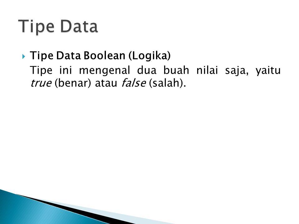 Tipe Data Tipe Data Boolean (Logika)