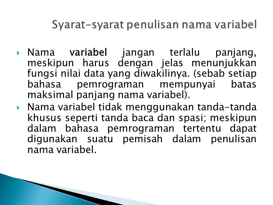 Syarat-syarat penulisan nama variabel