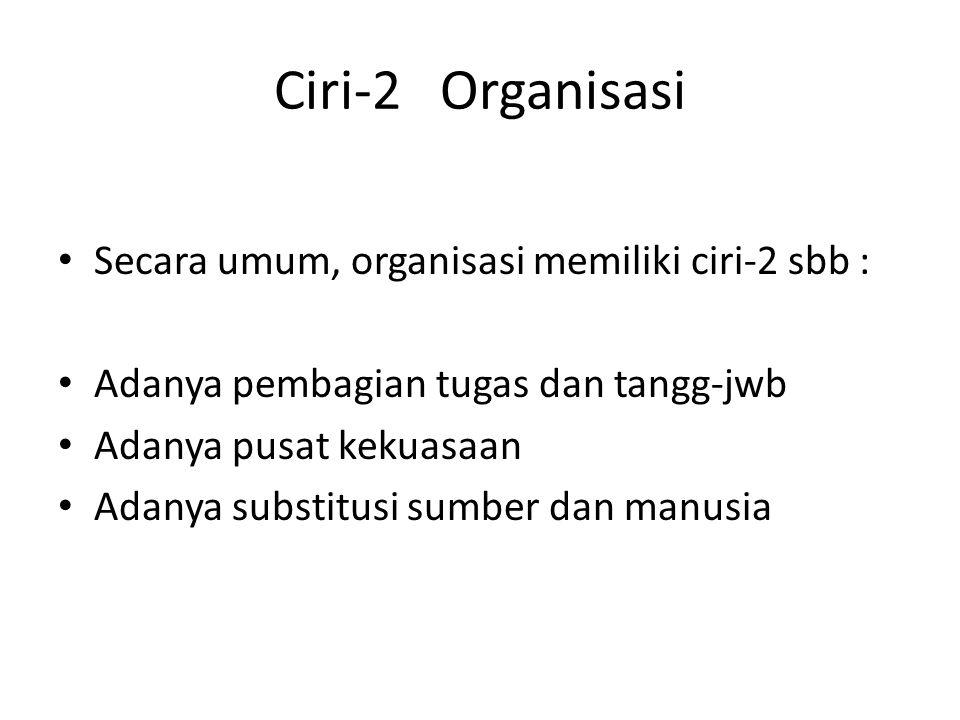 Ciri-2 Organisasi Secara umum, organisasi memiliki ciri-2 sbb :