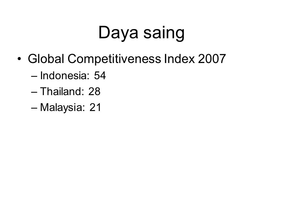 Daya saing Global Competitiveness Index 2007 Indonesia: 54