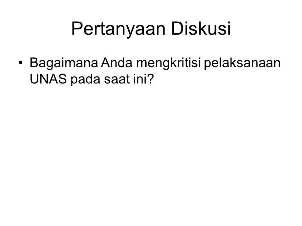 Pertanyaan Diskusi Bagaimana Anda mengkritisi pelaksanaan UNAS pada saat ini