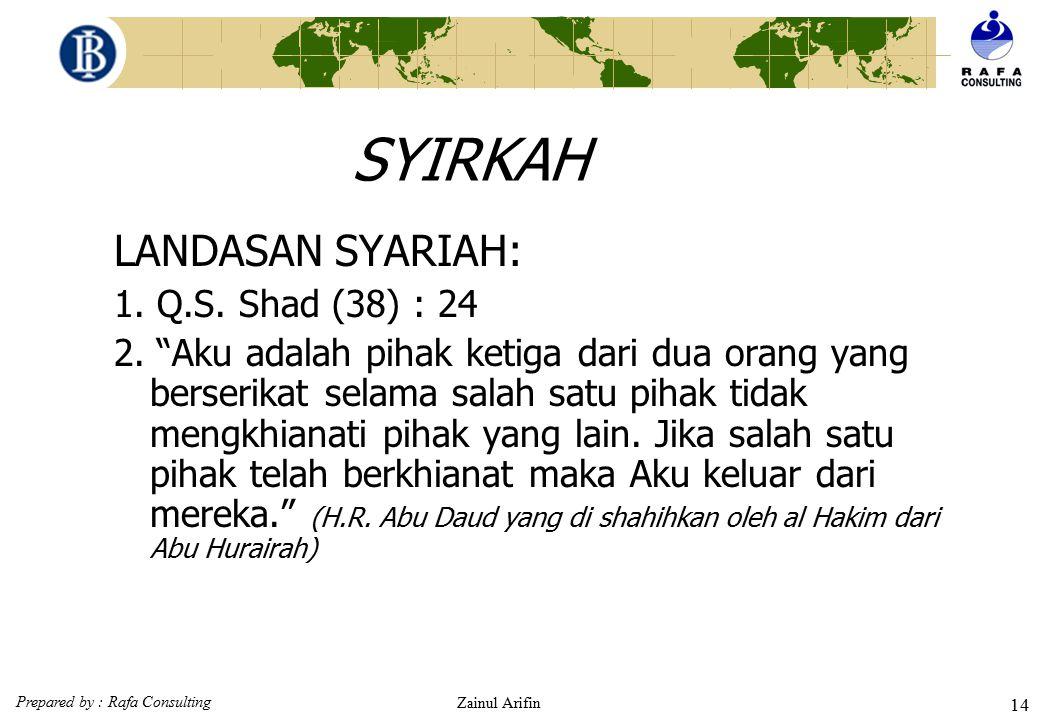 SYIRKAH LANDASAN SYARIAH: 1. Q.S. Shad (38) : 24