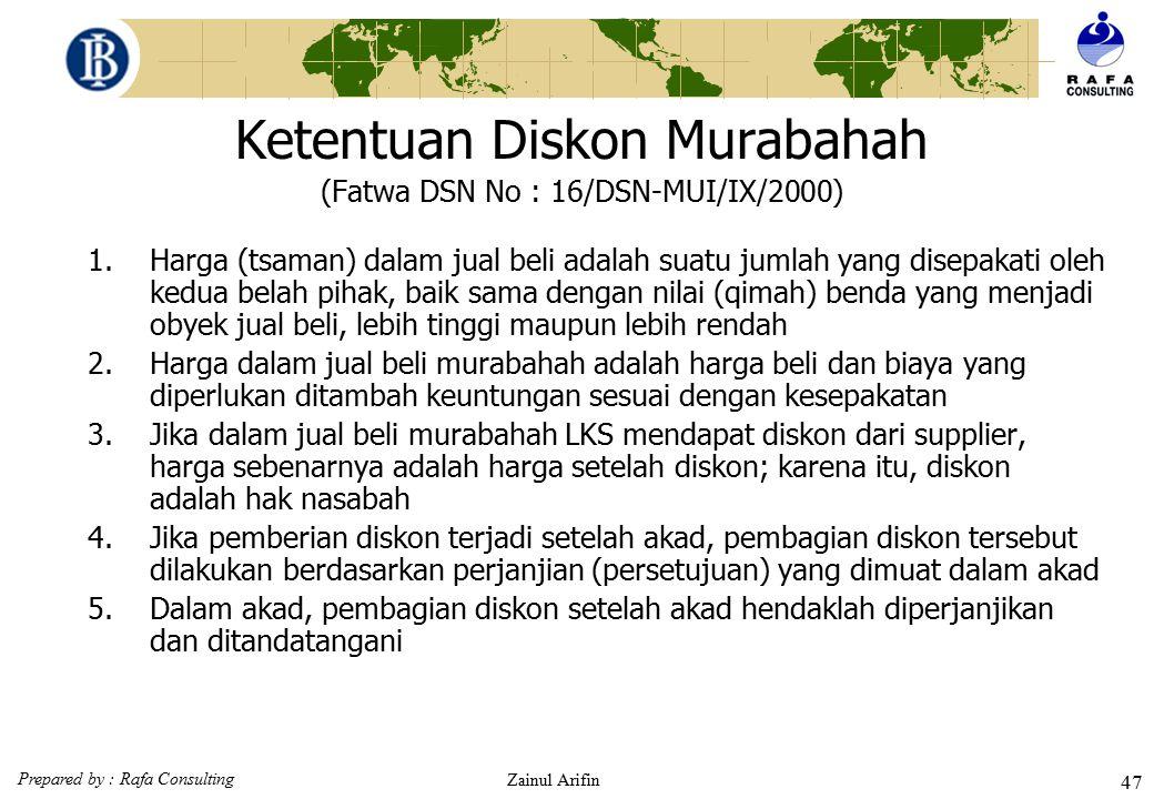 Ketentuan Diskon Murabahah (Fatwa DSN No : 16/DSN-MUI/IX/2000)