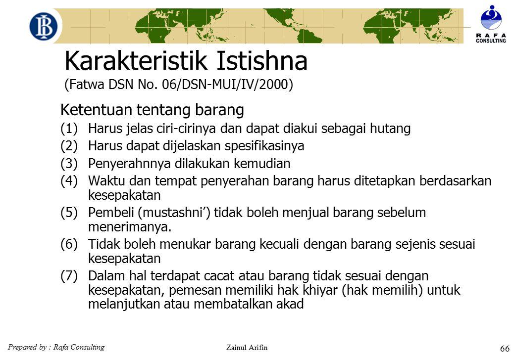 Karakteristik Istishna (Fatwa DSN No. 06/DSN-MUI/IV/2000)