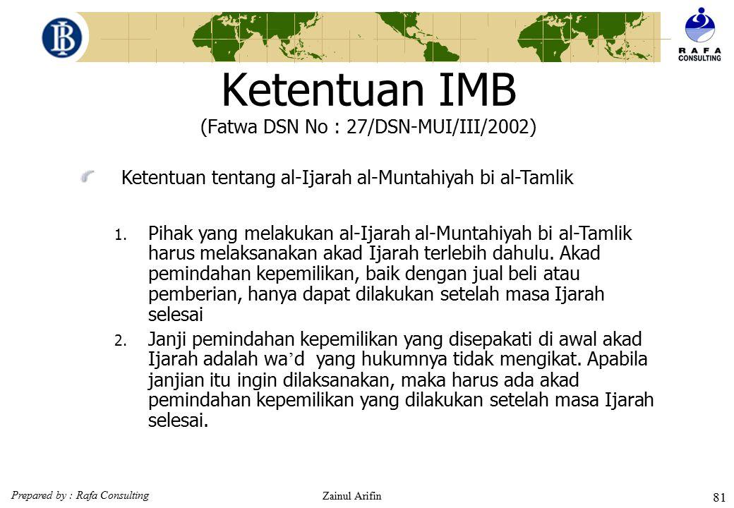 Ketentuan IMB (Fatwa DSN No : 27/DSN-MUI/III/2002)