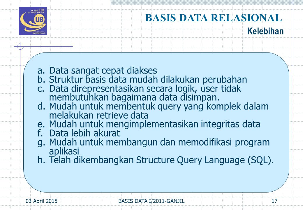 BASIS DATA RELASIONAL Kelebihan Data sangat cepat diakses