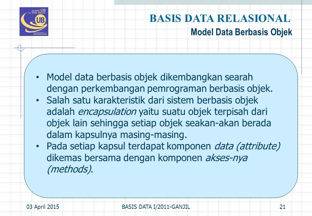 BASIS DATA RELASIONAL Model Data Berbasis Objek