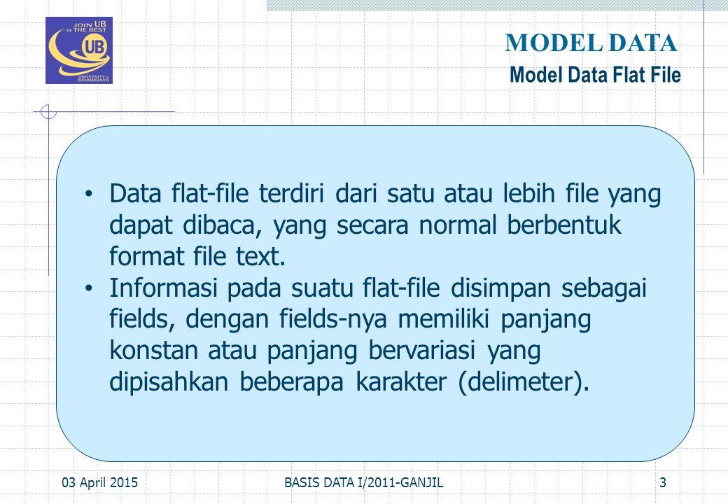 MODEL DATA Model Data Flat File. Data flat-file terdiri dari satu atau lebih file yang dapat dibaca, yang secara normal berbentuk format file text.