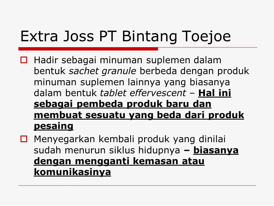 Extra Joss PT Bintang Toejoe