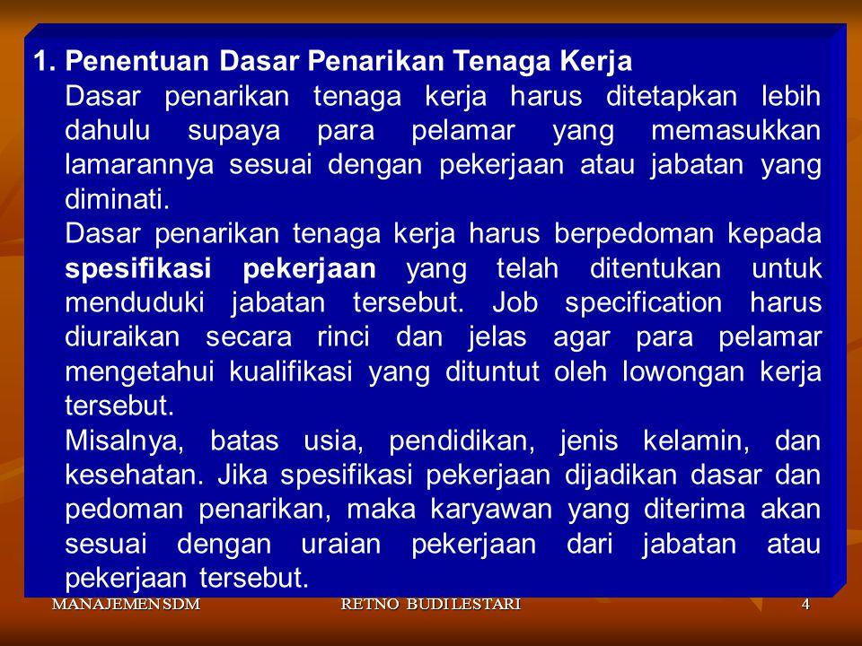 Penentuan Dasar Penarikan Tenaga Kerja