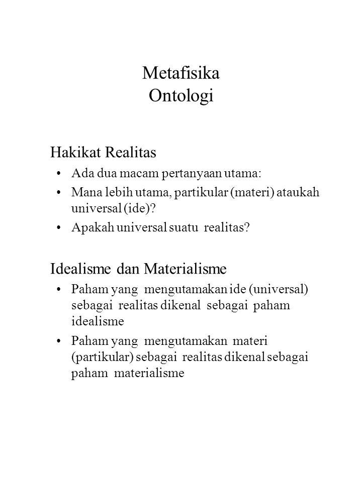 Metafisika Ontologi Hakikat Realitas Idealisme dan Materialisme