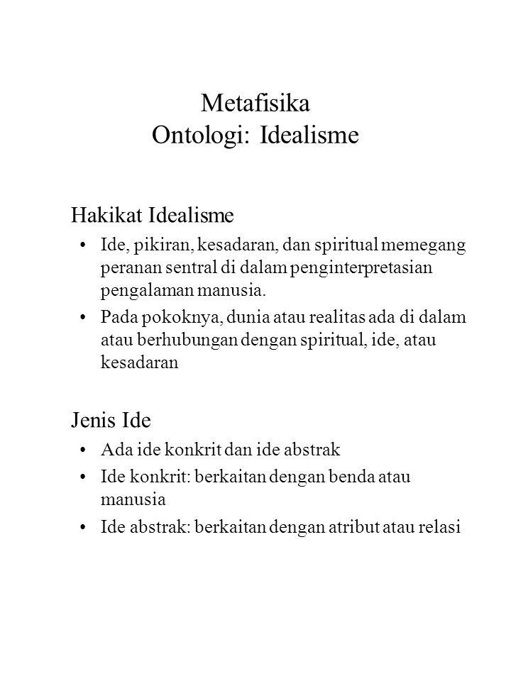Metafisika Ontologi: Idealisme