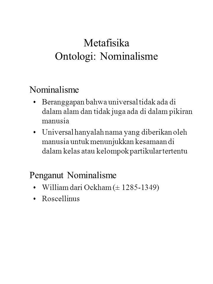 Metafisika Ontologi: Nominalisme