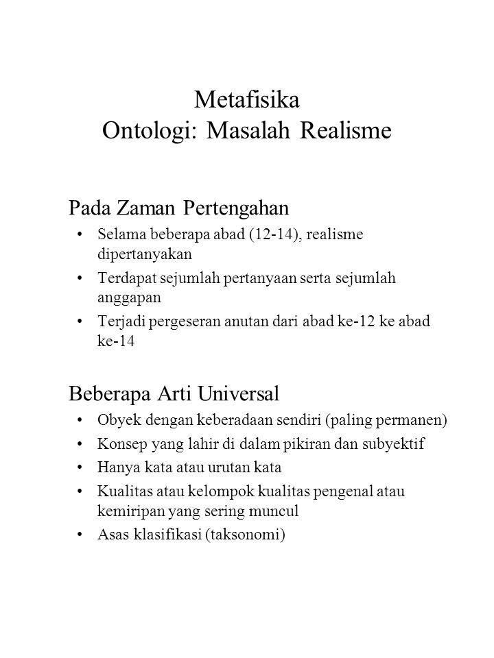 Metafisika Ontologi: Masalah Realisme