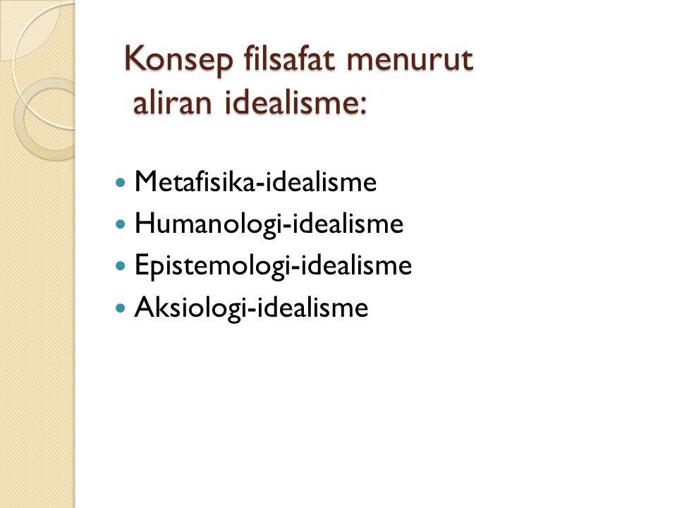Konsep filsafat menurut aliran idealisme: