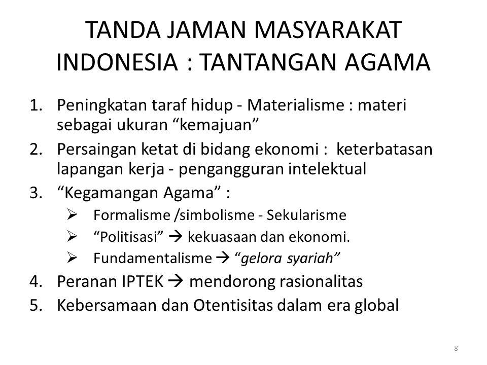 TANDA JAMAN MASYARAKAT INDONESIA : TANTANGAN AGAMA