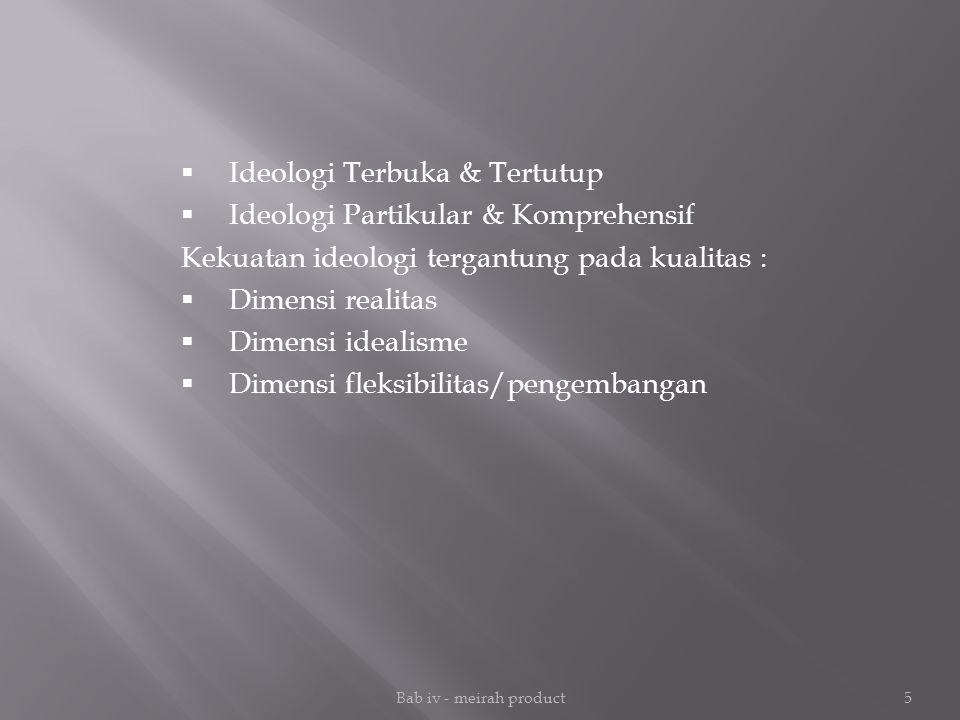 Ideologi Terbuka & Tertutup Ideologi Partikular & Komprehensif