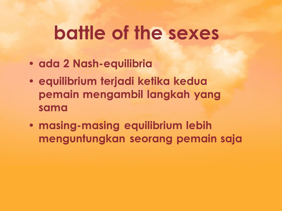 battle of the sexes ada 2 Nash-equilibria