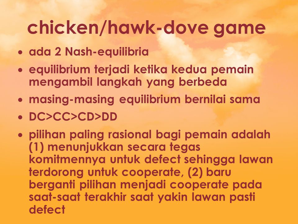 chicken/hawk-dove game