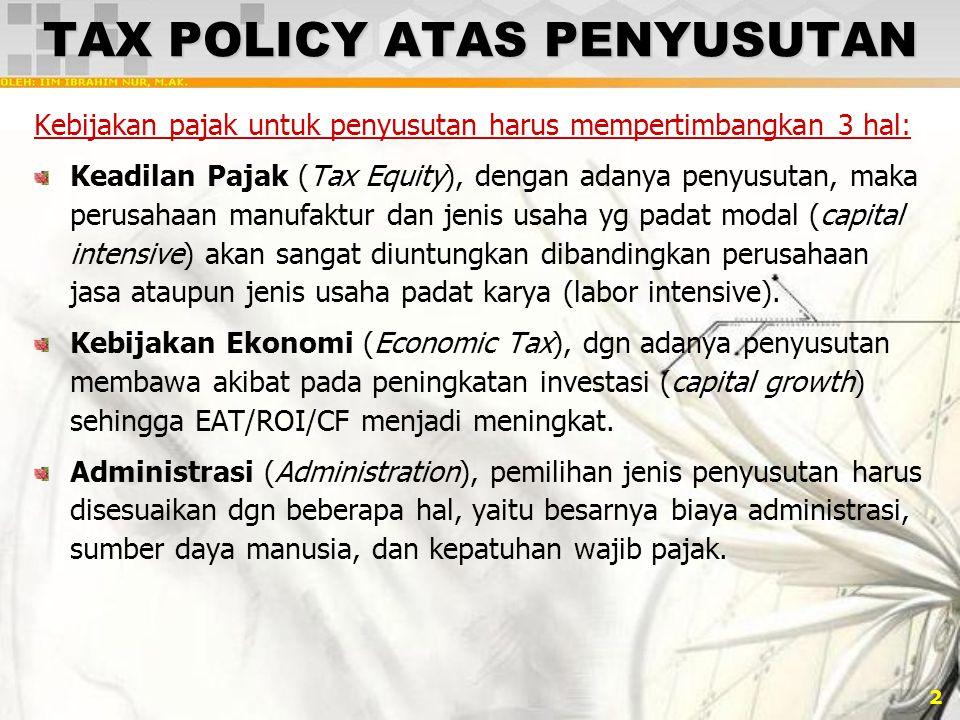 TAX POLICY ATAS PENYUSUTAN