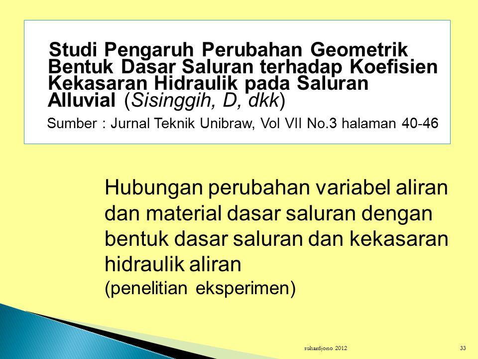 Studi Pengaruh Perubahan Geometrik Bentuk Dasar Saluran terhadap Koefisien Kekasaran Hidraulik pada Saluran Alluvial (Sisinggih, D, dkk)