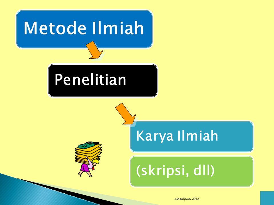 Metode Ilmiah Penelitian Karya Ilmiah (skripsi, dll) suhardjono 2012