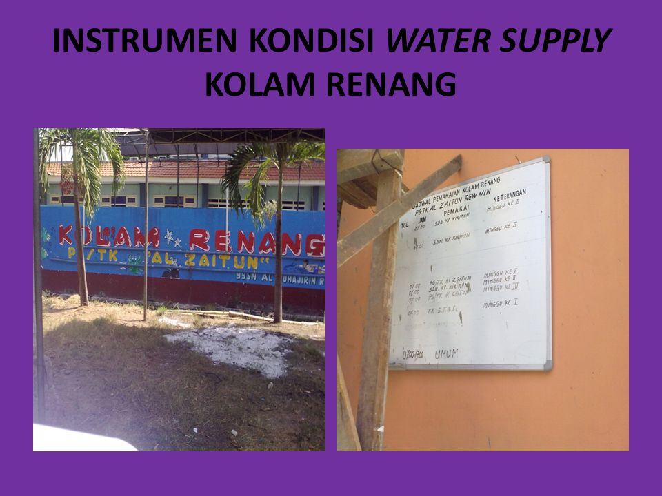 INSTRUMEN KONDISI WATER SUPPLY KOLAM RENANG