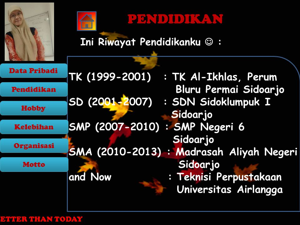 PENDIDIKAN TK (1999-2001) : TK Al-Ikhlas, Perum Bluru Permai Sidoarjo