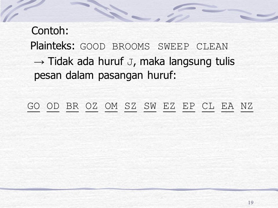 Contoh: Plainteks: GOOD BROOMS SWEEP CLEAN