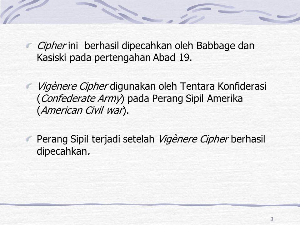 Cipher ini berhasil dipecahkan oleh Babbage dan Kasiski pada pertengahan Abad 19.
