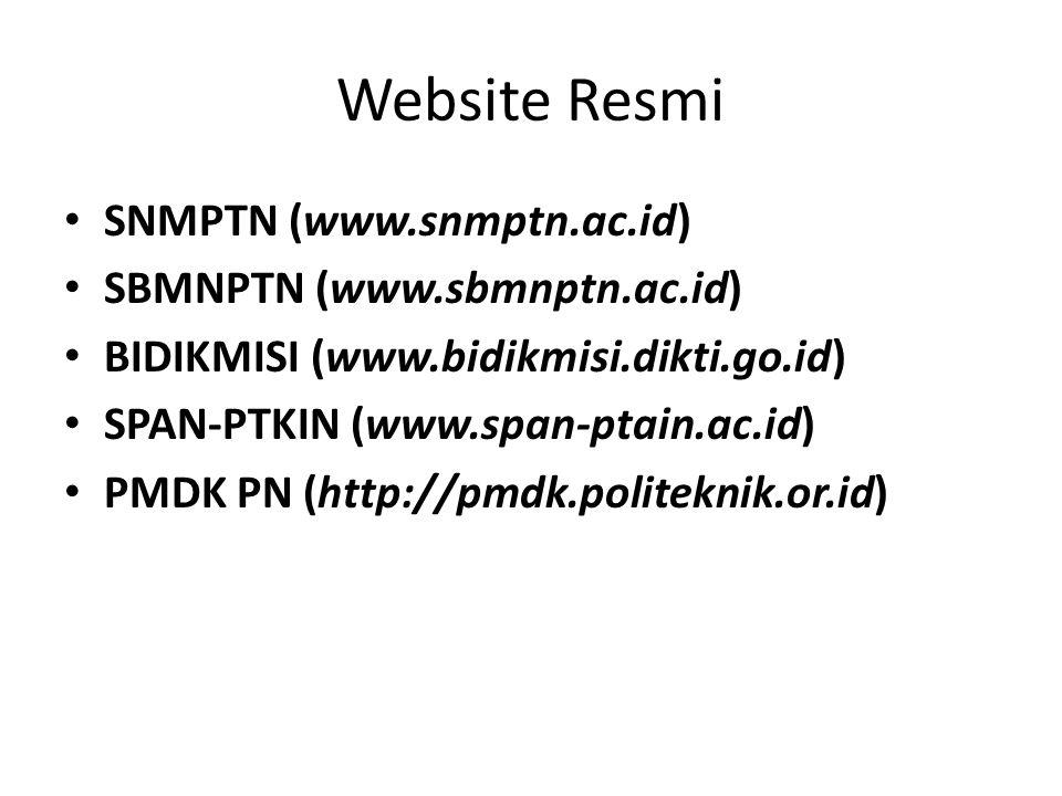 Website Resmi SNMPTN (www.snmptn.ac.id) SBMNPTN (www.sbmnptn.ac.id)