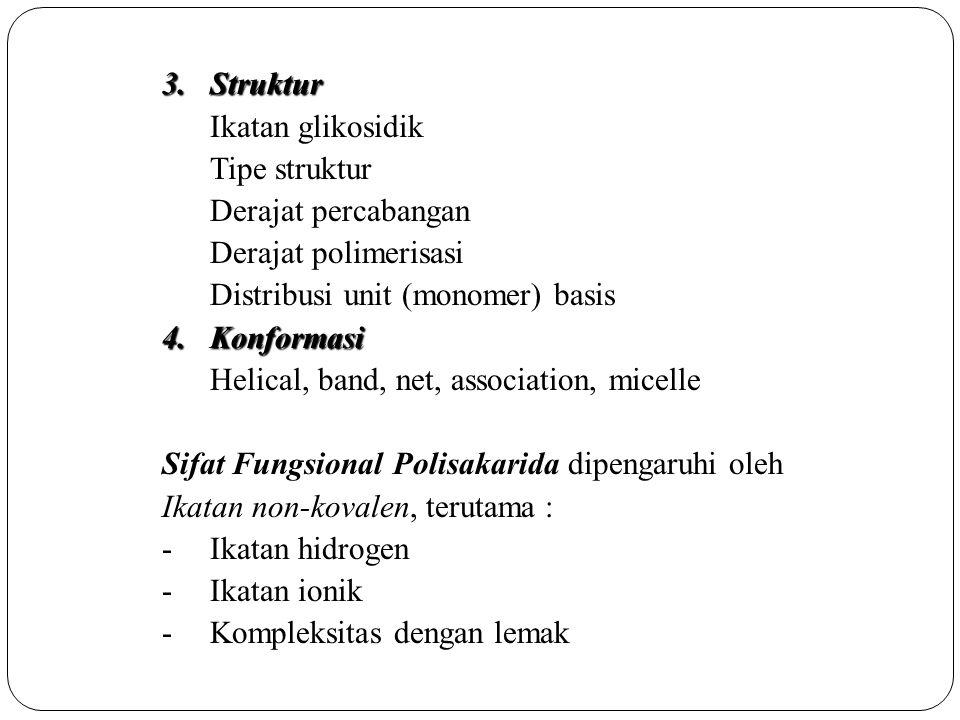 Struktur Ikatan glikosidik. Tipe struktur. Derajat percabangan. Derajat polimerisasi. Distribusi unit (monomer) basis.