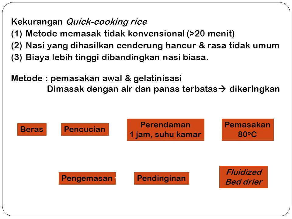 Kekurangan Quick-cooking rice