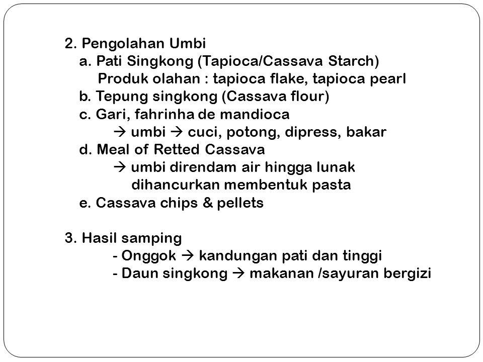 2. Pengolahan Umbi a. Pati Singkong (Tapioca/Cassava Starch) Produk olahan : tapioca flake, tapioca pearl.