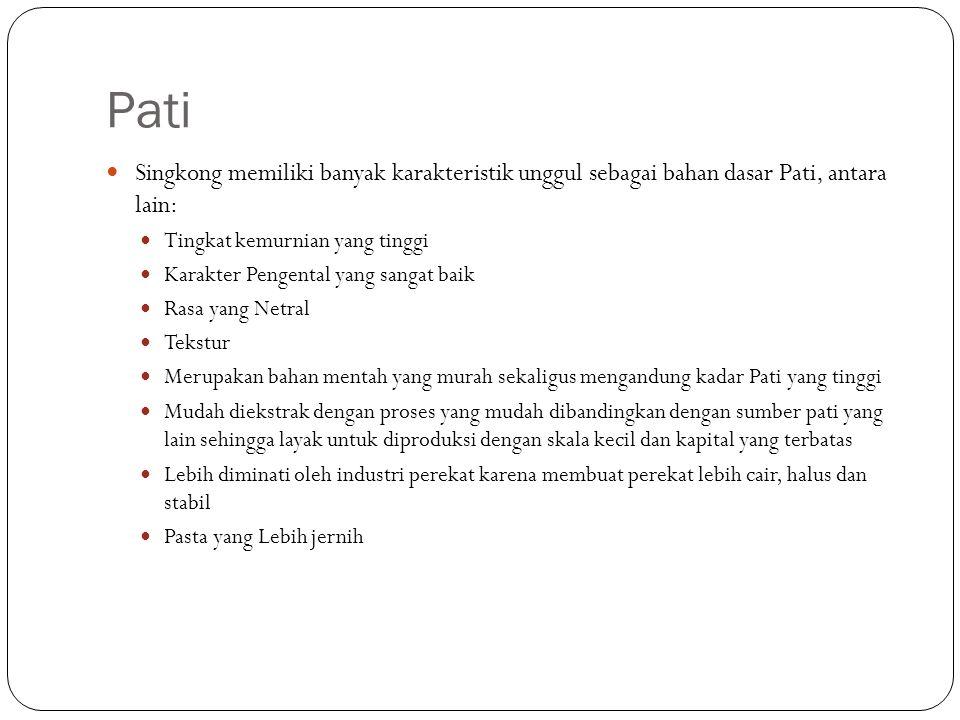 Pati Singkong memiliki banyak karakteristik unggul sebagai bahan dasar Pati, antara lain: Tingkat kemurnian yang tinggi.