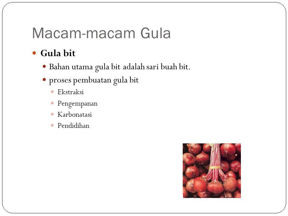 Macam-macam Gula Gula bit Bahan utama gula bit adalah sari buah bit.