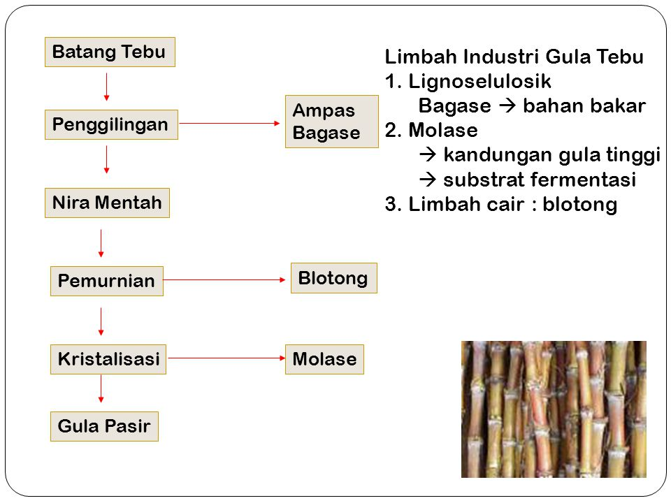 Limbah Industri Gula Tebu 1. Lignoselulosik Bagase  bahan bakar