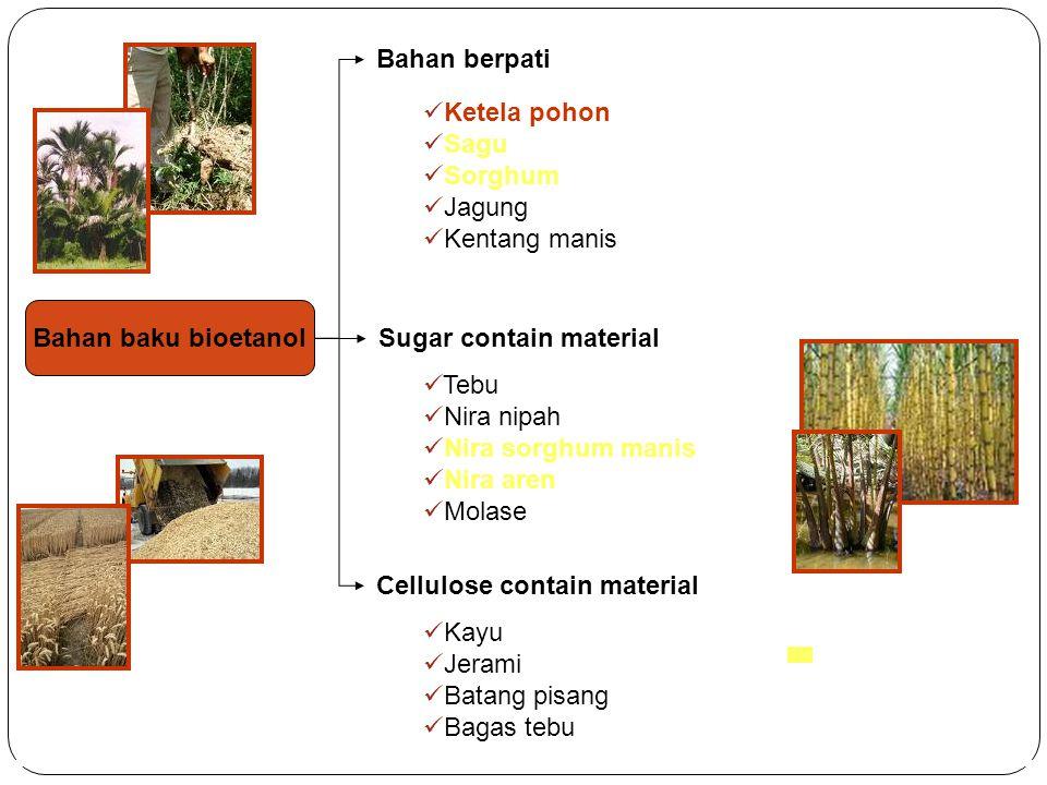 Bahan berpati Ketela pohon. Sagu. Sorghum. Jagung. Kentang manis. Bahan baku bioetanol. Sugar contain material.