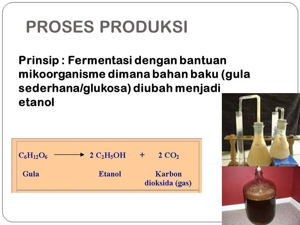 PROSES PRODUKSI Prinsip : Fermentasi dengan bantuan mikoorganisme dimana bahan baku (gula sederhana/glukosa) diubah menjadi etanol.