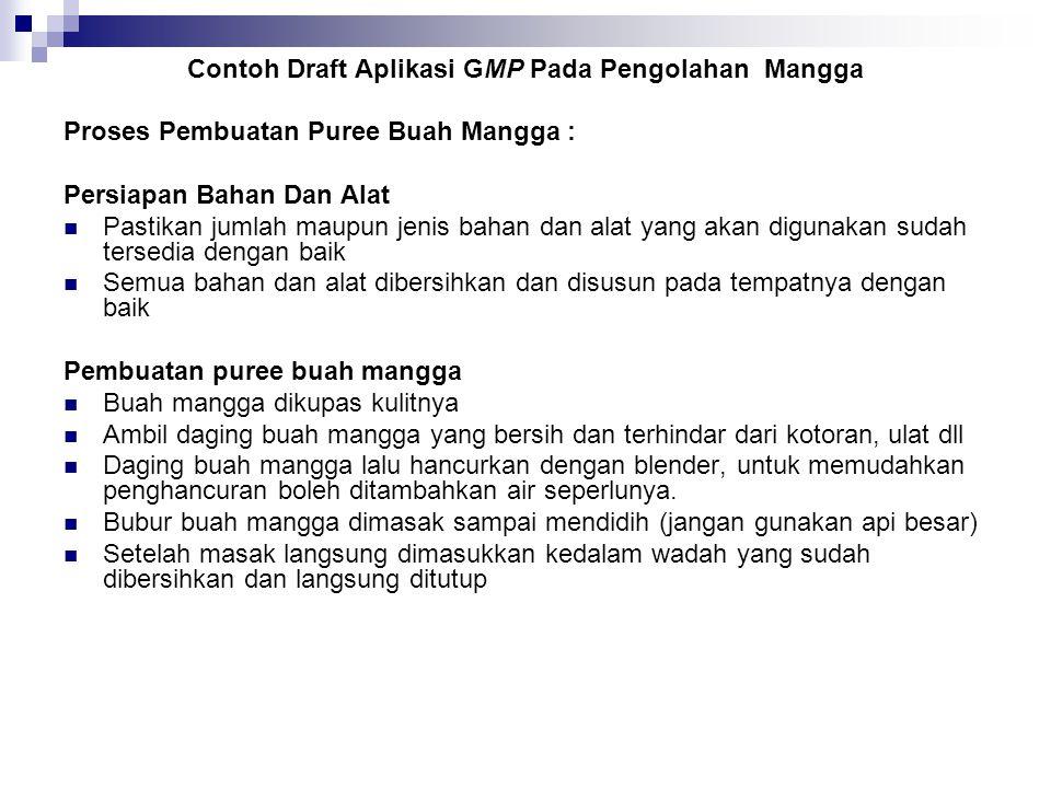 Contoh Draft Aplikasi GMP Pada Pengolahan Mangga
