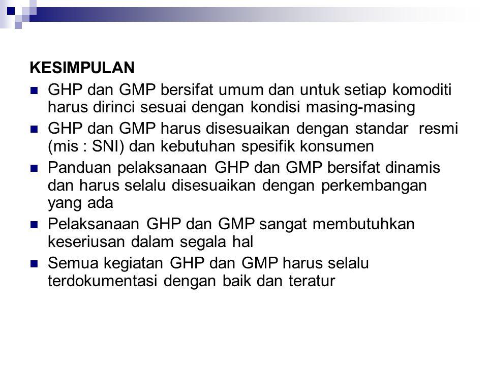 KESIMPULAN GHP dan GMP bersifat umum dan untuk setiap komoditi harus dirinci sesuai dengan kondisi masing-masing.