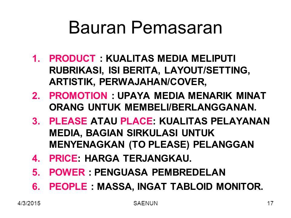 Bauran Pemasaran PRODUCT : KUALITAS MEDIA MELIPUTI RUBRIKASI, ISI BERITA, LAYOUT/SETTING, ARTISTIK, PERWAJAHAN/COVER,